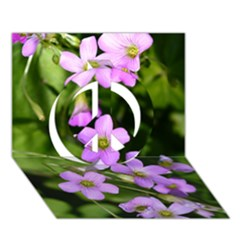 Little Purple Flowers Peace Sign 3d Greeting Card (7x5)  by timelessartoncanvas