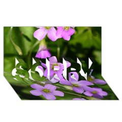 Little Purple Flowers Sorry 3d Greeting Card (8x4)  by timelessartoncanvas
