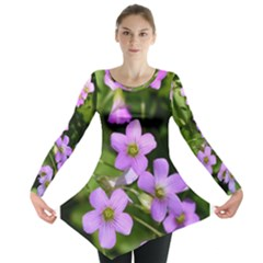 Little Purple Flowers Long Sleeve Tunic  by timelessartoncanvas