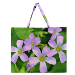 Little Purple Flowers 2 Zipper Large Tote Bag by timelessartoncanvas