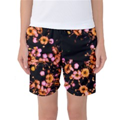 Little Peach And Pink Flowers Women s Basketball Shorts