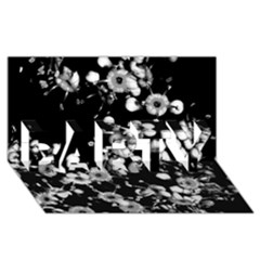 Little Black And White Flowers Party 3d Greeting Card (8x4)  by timelessartoncanvas