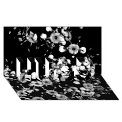 Little Black And White Flowers Hugs 3d Greeting Card (8x4)  by timelessartoncanvas