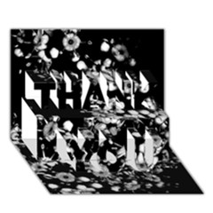 Little Black And White Flowers Thank You 3d Greeting Card (7x5)  by timelessartoncanvas
