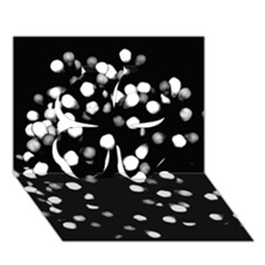 Little Black And White Dots Clover 3d Greeting Card (7x5)  by timelessartoncanvas