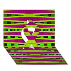 Bright Green Pink Geometric Ribbon 3d Greeting Card (7x5)  by BrightVibesDesign