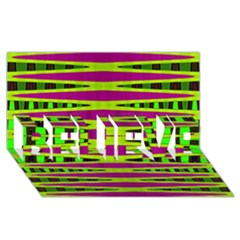 Bright Green Pink Geometric Believe 3d Greeting Card (8x4)
