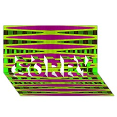Bright Green Pink Geometric SORRY 3D Greeting Card (8x4)  by BrightVibesDesign