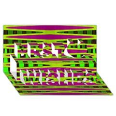 Bright Green Pink Geometric Best Wish 3d Greeting Card (8x4)