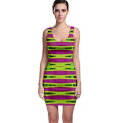 Bright Green Pink Geometric Sleeveless Bodycon Dress