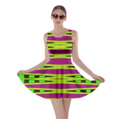 Bright Green Pink Geometric Skater Dress by BrightVibesDesign