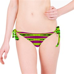 Bright Green Pink Geometric Bikini Bottom
