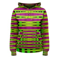 Bright Green Pink Geometric Women s Pullover Hoodie