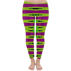 Bright Green Pink Geometric Winter Leggings