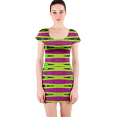 Bright Green Pink Geometric Short Sleeve Bodycon Dress