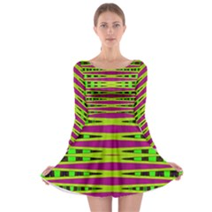 Bright Green Pink Geometric Long Sleeve Skater Dress