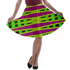 Bright Green Pink Geometric A-line Skater Skirt by BrightVibesDesign