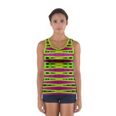 Bright Green Pink Geometric Tops by BrightVibesDesign
