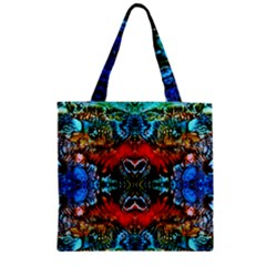 Colorful  Underwater Plants Pattern Zipper Grocery Tote Bag by Costasonlineshop