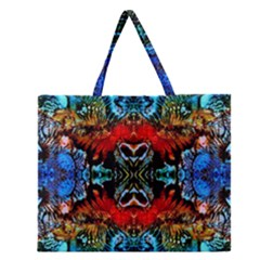 Colorful  Underwater Plants Pattern Zipper Large Tote Bag