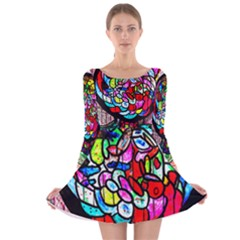 Bipolar Colour Me Up Long Sleeve Velvet Skater Dress