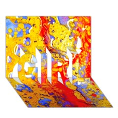 Gold And Red Girl 3d Greeting Card (7x5)