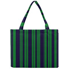 Dark Blue Green Striped Pattern Mini Tote Bag by BrightVibesDesign