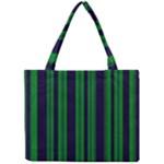 Dark Blue Green Striped Pattern Mini Tote Bag