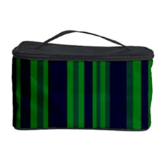 Dark Blue Green Striped Pattern Cosmetic Storage Cases by BrightVibesDesign
