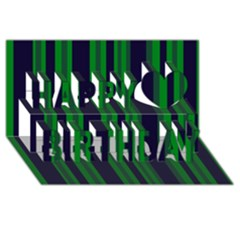 Dark Blue Green Striped Pattern Happy Birthday 3D Greeting Card (8x4)  by BrightVibesDesign