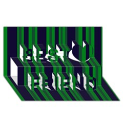 Dark Blue Green Striped Pattern Best Friends 3d Greeting Card (8x4)  by BrightVibesDesign