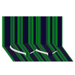 Dark Blue Green Striped Pattern Twin Heart Bottom 3d Greeting Card (8x4)  by BrightVibesDesign