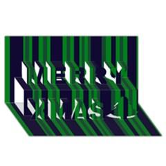 Dark Blue Green Striped Pattern Merry Xmas 3d Greeting Card (8x4)