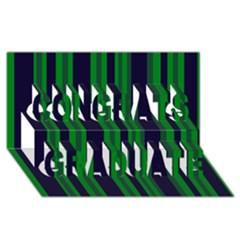 Dark Blue Green Striped Pattern Congrats Graduate 3d Greeting Card (8x4)