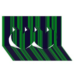 Dark Blue Green Striped Pattern Twin Hearts 3d Greeting Card (8x4)  by BrightVibesDesign