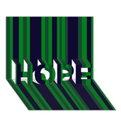 Dark Blue Green Striped Pattern Hope 3d Greeting Card (7x5)  by BrightVibesDesign