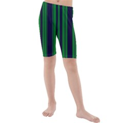 Dark Blue Green Striped Pattern Kid s Mid Length Swim Shorts by BrightVibesDesign