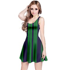 Dark Blue Green Striped Pattern Reversible Sleeveless Dress by BrightVibesDesign