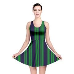 Dark Blue Green Striped Pattern Reversible Skater Dress by BrightVibesDesign