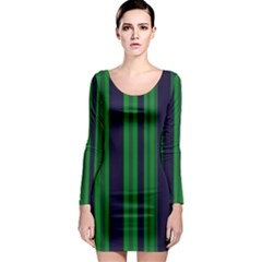 Dark Blue Green Striped Pattern Long Sleeve Bodycon Dress by BrightVibesDesign