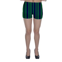 Dark Blue Green Striped Pattern Skinny Shorts by BrightVibesDesign