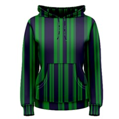 Dark Blue Green Striped Pattern Women s Pullover Hoodie by BrightVibesDesign
