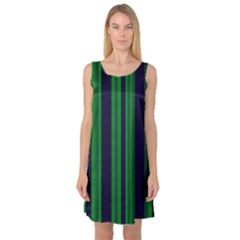 Dark Blue Green Striped Pattern Sleeveless Satin Nightdress by BrightVibesDesign