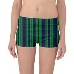 Dark Blue Green Striped Pattern Reversible Boyleg Bikini Bottoms by BrightVibesDesign