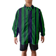 Dark Blue Green Striped Pattern Wind Breaker (Kids) by BrightVibesDesign