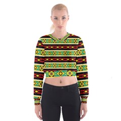 Rhombus chains and other shapes   Women s Cropped Sweatshirt