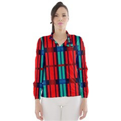 Stripes And Rectangles  Wind Breaker (women) by LalyLauraFLM