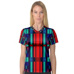 Stripes And Rectangles  Women s V Neck Sport Mesh Tee by LalyLauraFLM