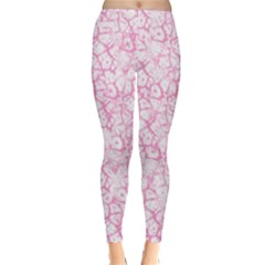 Officially Sexy Baby Pink & White Cracked Pattern Winter Leggings  by OfficiallySexy