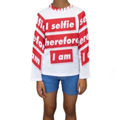 I Selfie Therefore I Am Kid s Long Sleeve Swimwear by theimagezone